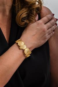 Embossed Gold Coin Stretch Bracelet