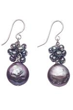 Black pebble pearl cluster drop earrings
