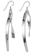 Curved silver bar earrings