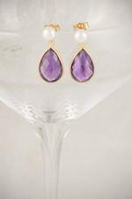 Freshwater Pearl and Gold Amethyst Earrings