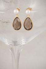 Freshwater Pearl and Gold Smoky Quartz Earrings