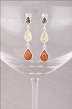 Mixed Amber Triple Drop Earrings
