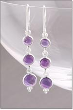 Silver Amethyst Drop Earrings