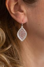 Silver and Rose Gold Filigree Leaf Earrings