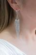 Silver Crystal Strand Statement Earrings