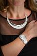 Silver Curve Shell Necklace and Bangle Set