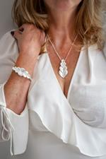 Silver Heart Shell Necklace and Bracelet Set