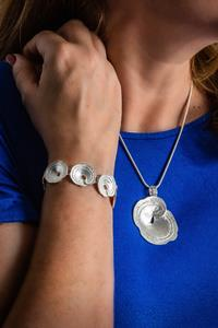 Silver Pitted Shell Necklace and Bracelet Set