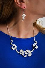 Silver Wave Necklace and Earring Set
