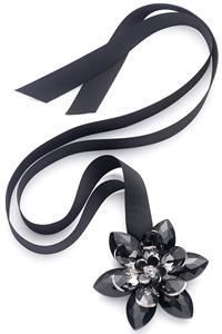Black crystal flower ribbon necklace