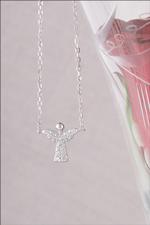 Cubic Zirconia Pave Angel Necklace