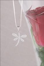 Cubic Zirconia Pave Dragonfly Necklace