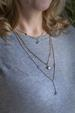 Long Triple Strand Gold Blue Chalcedony Necklace