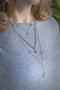 Long Triple Strand Silver Crystal Necklace
