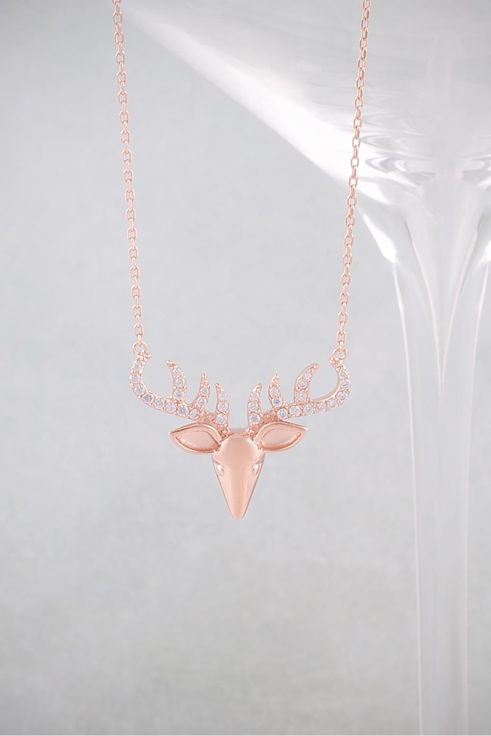 c01077de01be2 Necklaces   Rose Gold and Crystal Stag s Head Necklace at Baronessa