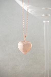 Rose Gold Diamond Cut Heart Necklace