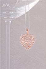 Rose Gold Filigree Heart Necklace