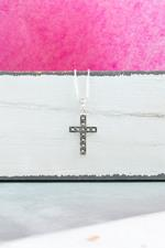 Silver and Marcasite Cross Necklace