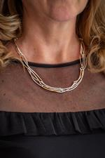 Silver and Rose Gold Curve Necklace