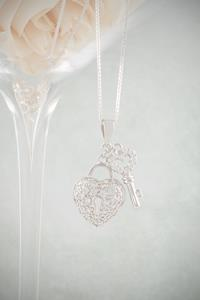 Silver Crystal Heart and Key Necklace