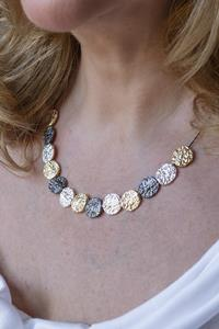 Silver Gold and Gun Metal Disc Necklace