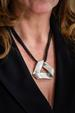Silver Leather Triangle Pendant Necklace