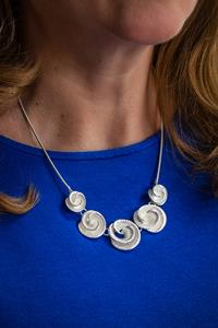 Silver Rose Shell Necklace