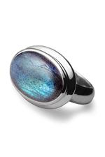 Blue Rainbow Moonstone Oval Silver Mount Ring