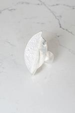 Matt Silver Stretch Leaf Ring