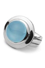Silver Blue Chalcedony Sphere Ring