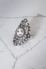 Silver Gunmetal Crystal Flower Stretch Ring