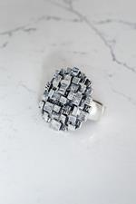 Silver Gunmetal Mesh Stretch Ring