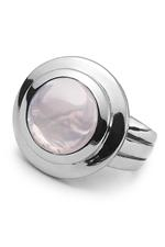 Silver Rose Quartz Sphere Ring